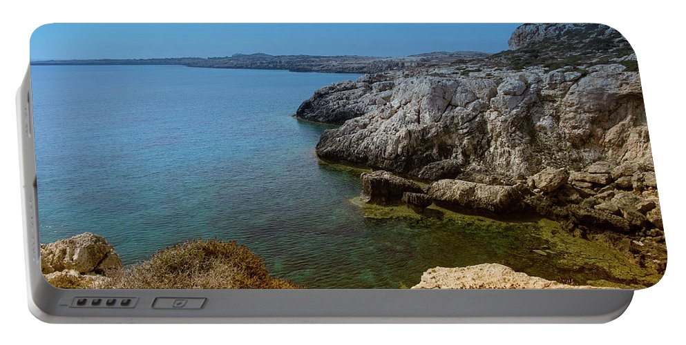 Natalya Antropova Portable Battery Charger featuring the photograph Wild Coast Cyprus by Natalya Antropova