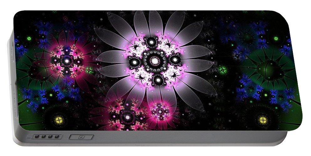 Fractal Portable Battery Charger featuring the digital art Wild Daisies 3 by Aunita Tyler
