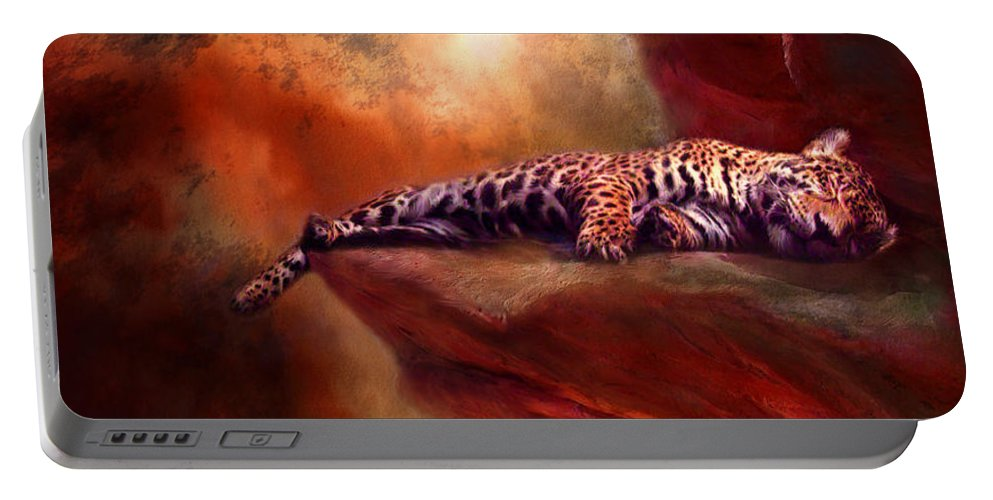 Leopard Portable Battery Charger featuring the mixed media Wild Dreamer by Carol Cavalaris