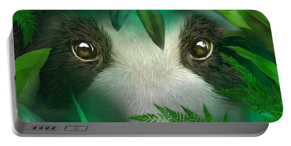 Carol Cavalaris Portable Battery Charger featuring the mixed media Wild Eyes - Giant Panda by Carol Cavalaris