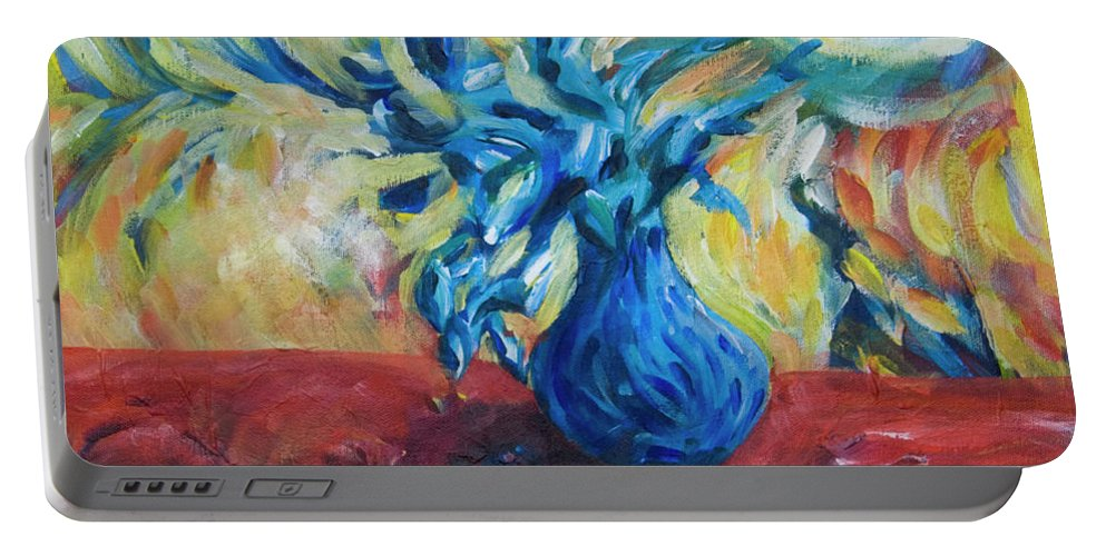 Blue Vase Portable Battery Charger featuring the painting Wild Flower by Yulia Kazansky