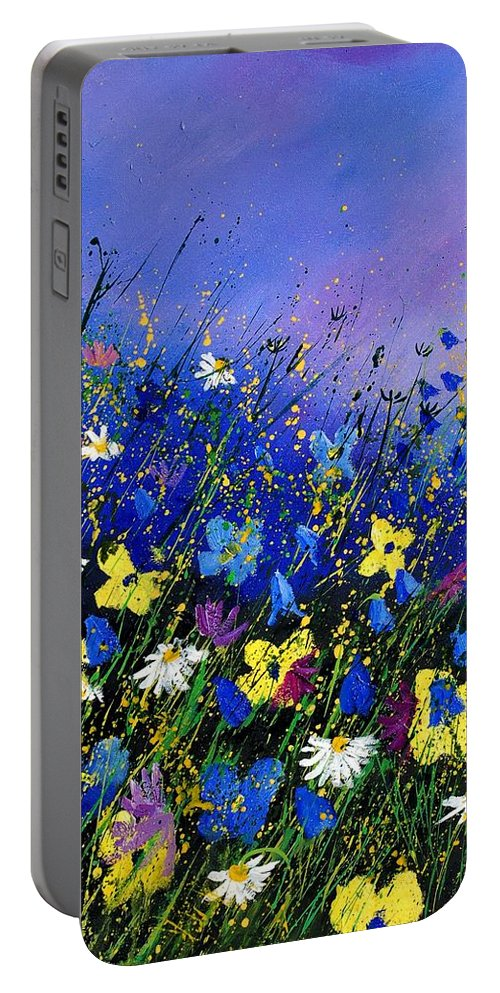 Flowers Portable Battery Charger featuring the painting Wild Flowers 560908 by Pol Ledent