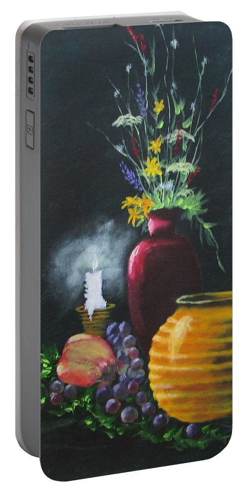 Still Life Art Portable Battery Charger featuring the painting Wild Flowers And Things by Robert Clark