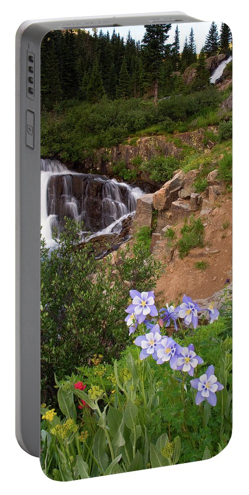 Colorado Portable Battery Charger featuring the photograph Wild Flowers And Waterfalls by Steve Stuller