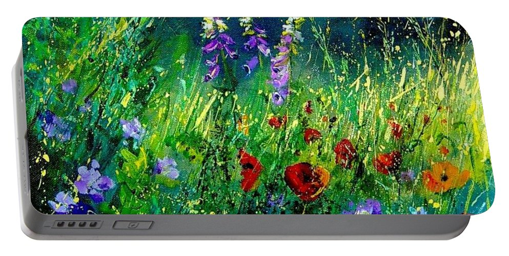 Poppies Portable Battery Charger featuring the painting Wild Flowers by Pol Ledent
