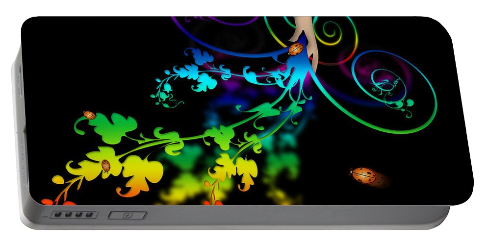 Abstract Portable Battery Charger featuring the digital art Wild Flowers by Svetlana Sewell