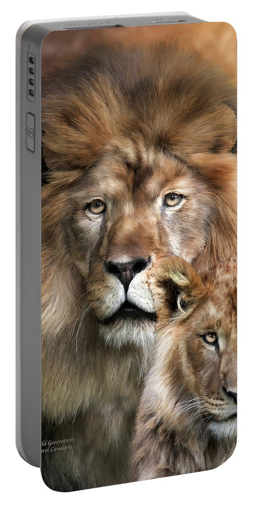Lion Portable Battery Charger featuring the mixed media Wild Generations by Carol Cavalaris