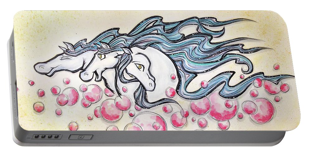 Horses Portable Battery Charger featuring the drawing Wild Horses by Debi Winger