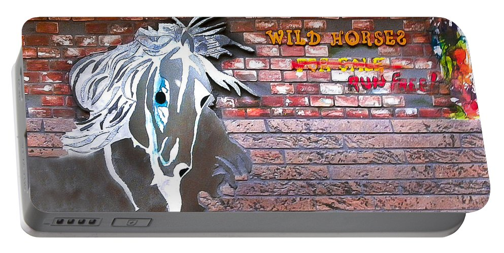 Brick Art Portable Battery Charger featuring the mixed media Wild Horses For Sale by Herman Cerrato