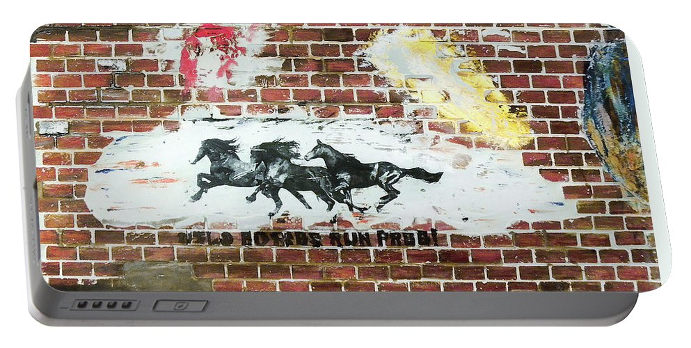 Brick Portable Battery Charger featuring the mixed media Wild Horses Running by Herman Cerrato