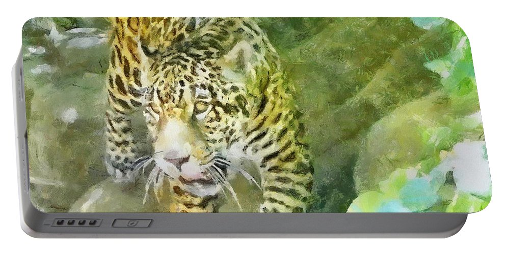 Wild Portable Battery Charger featuring the painting Wild In Spirit by Jeffrey Kolker