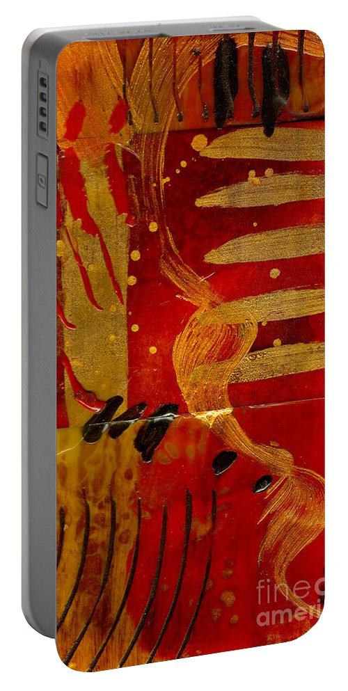 Wood Portable Battery Charger featuring the mixed media Wild Kingdom by Angela L Walker