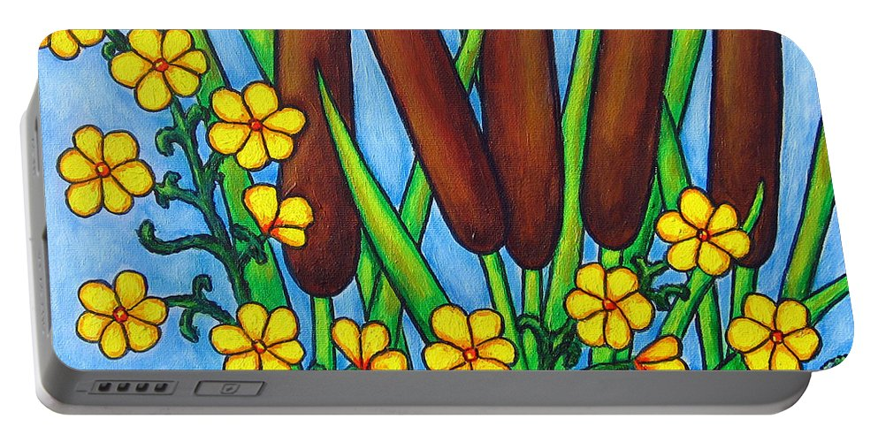Cat Tails Portable Battery Charger featuring the painting Wild Medley by Lisa Lorenz