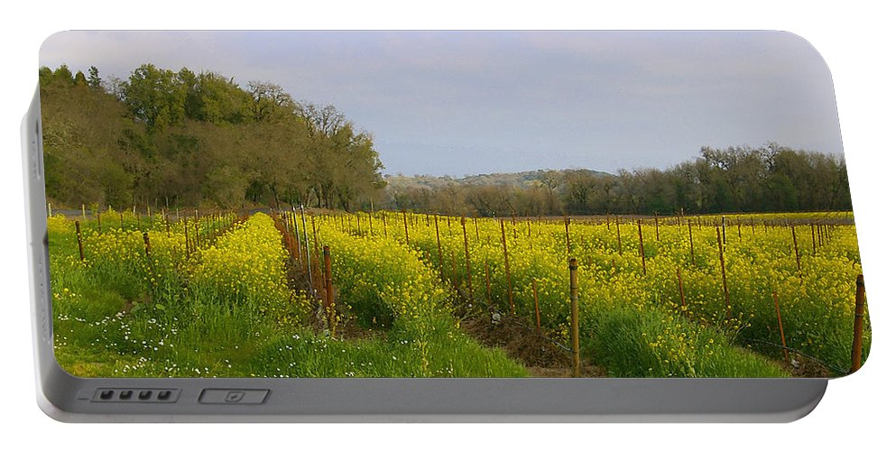 Mustard Portable Battery Charger featuring the photograph Wild Mustard Fields by Tom Reynen
