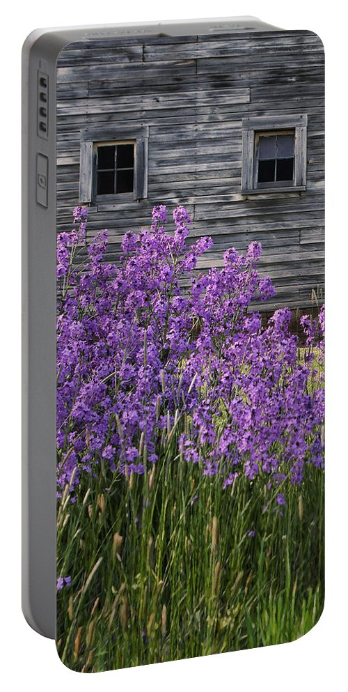 Windows Portable Battery Charger featuring the photograph Wild Phlox - Windows - Old Barn by Nikolyn McDonald