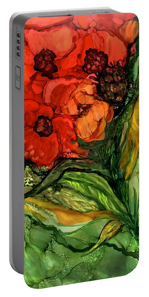 Carol Cavalaris Portable Battery Charger featuring the mixed media Wild Poppies - Organica by Carol Cavalaris