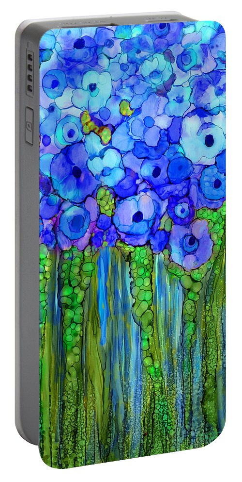 Carol Cavalaris Portable Battery Charger featuring the mixed media Wild Poppy Garden - Blue by Carol Cavalaris