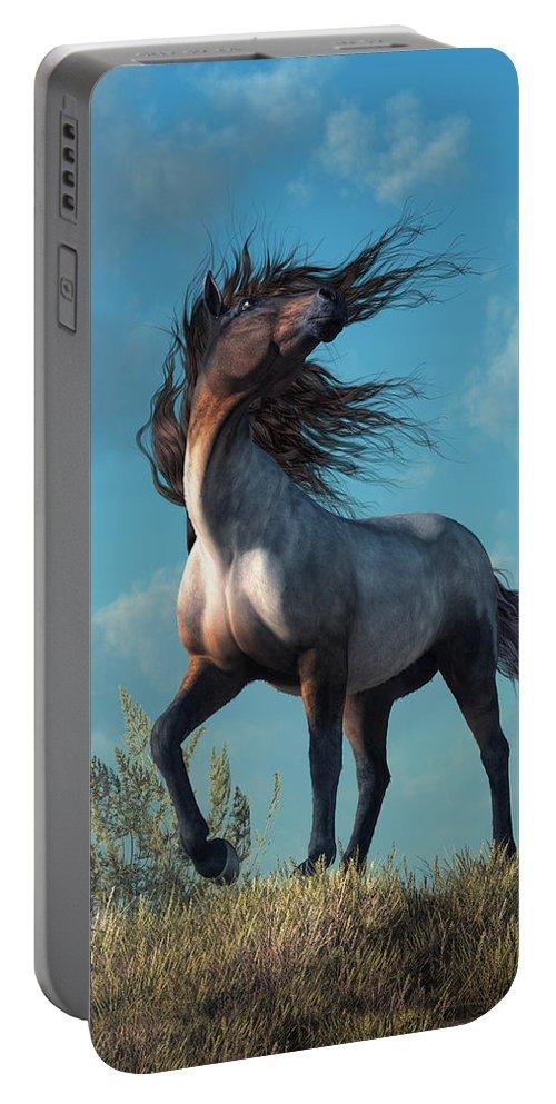 Wild Roan Portable Battery Charger featuring the digital art Wild Roan by Daniel Eskridge