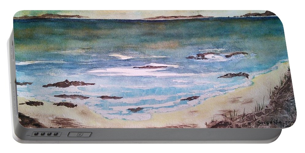 Seascape Portable Battery Charger featuring the painting Wild Sky by Susan Nielsen