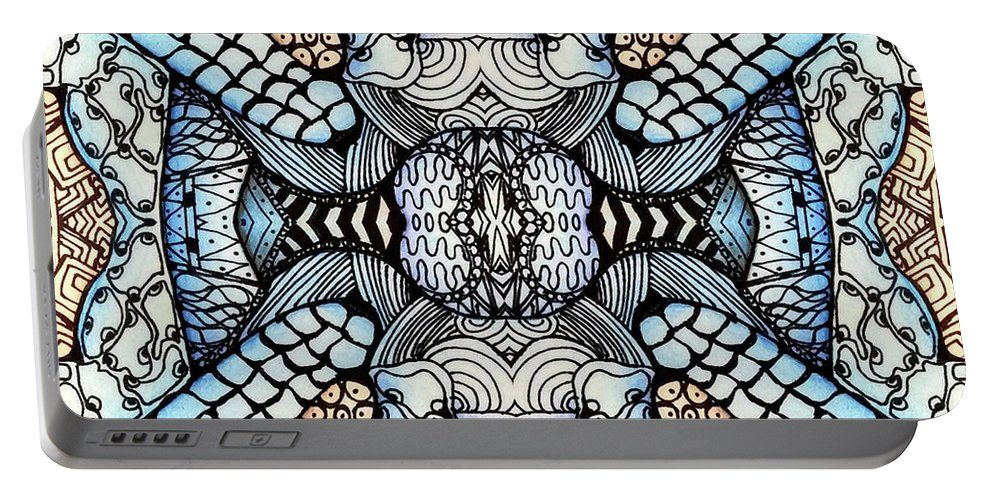 Portable Battery Charger featuring the painting Wild Thoughts by Versel Reid
