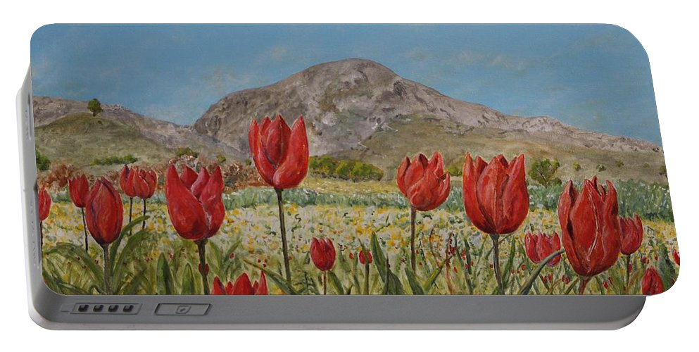 Crete Portable Battery Charger featuring the painting Wild Tulips In Central Crete by David Capon