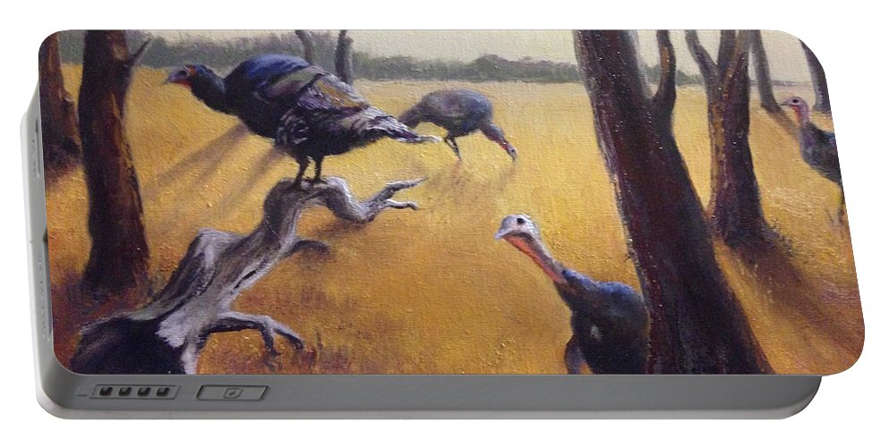 Landscape Turkeys Portable Battery Charger featuring the painting Wild Turkeys by Judy Michael Myers