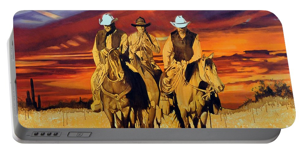 Cowboys Portable Battery Charger featuring the painting Arizona Sunset by Michael Stoyanov