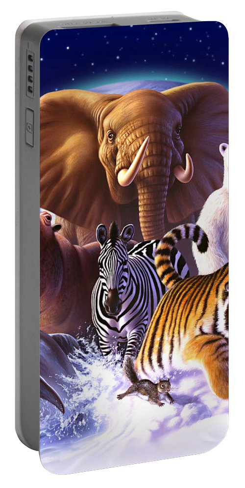 Mammals Portable Battery Charger featuring the painting Wild World by Jerry LoFaro