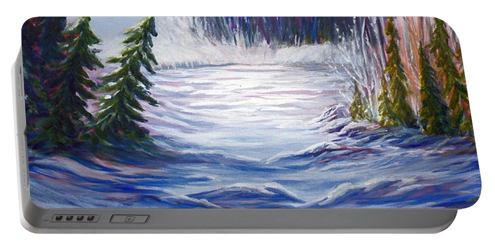 Northern Canada Winter Wilderness Forest Portable Battery Charger featuring the painting Wilderness by Joanne Smoley