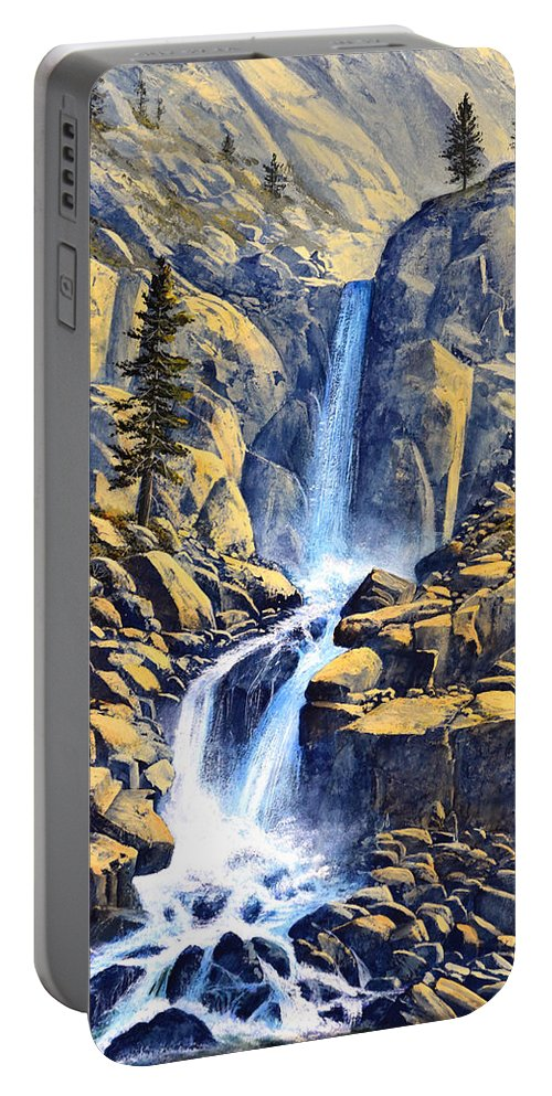 Wilderness Waterfall Portable Battery Charger featuring the painting Wilderness Waterfall by Frank Wilson