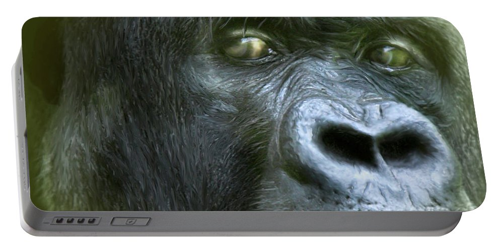 Gorilla Portable Battery Charger featuring the mixed media Wildeyes-silverback by Carol Cavalaris