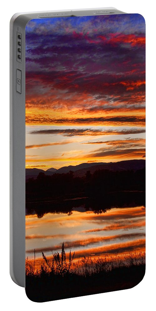 Sunset Portable Battery Charger featuring the photograph Wildfire Sunset 1v by James BO Insogna