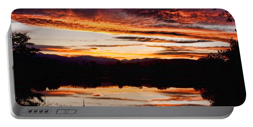Sunset Portable Battery Charger featuring the photograph Wildfire Sunset Reflection Image 28 by James BO Insogna