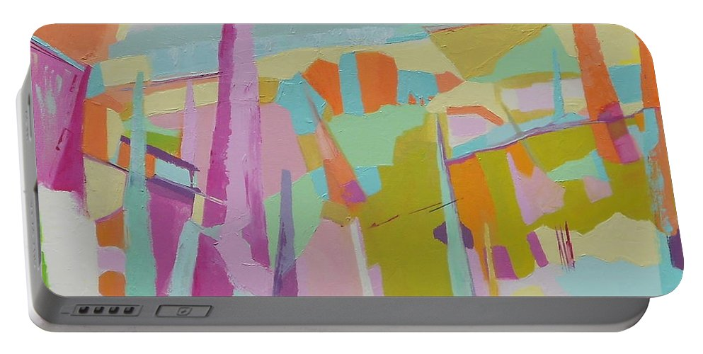 Abstract Landscape Portable Battery Charger featuring the painting Wildfires Vii by Danielle Nelisse