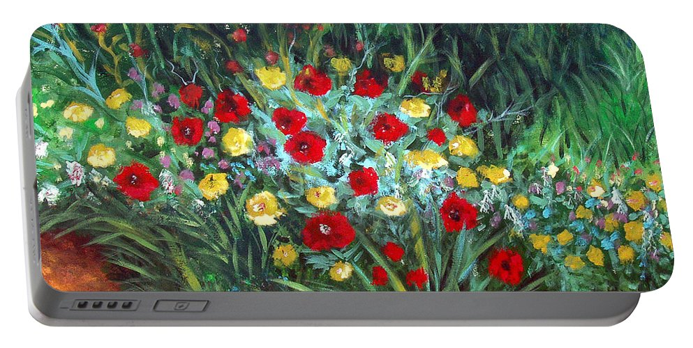 Abstract Portable Battery Charger featuring the painting Wildflower Garden 1 by Nancy Mueller