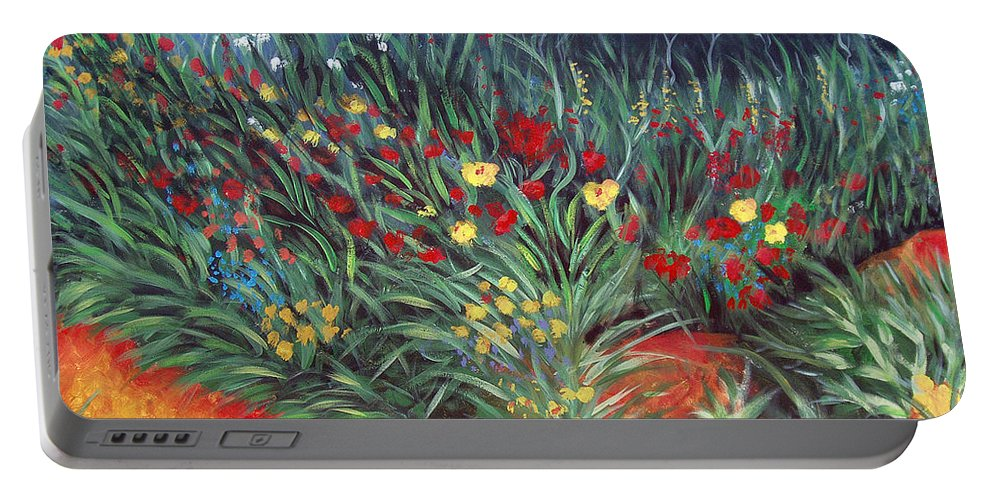 Landscape Portable Battery Charger featuring the painting Wildflower Garden 2 by Nancy Mueller