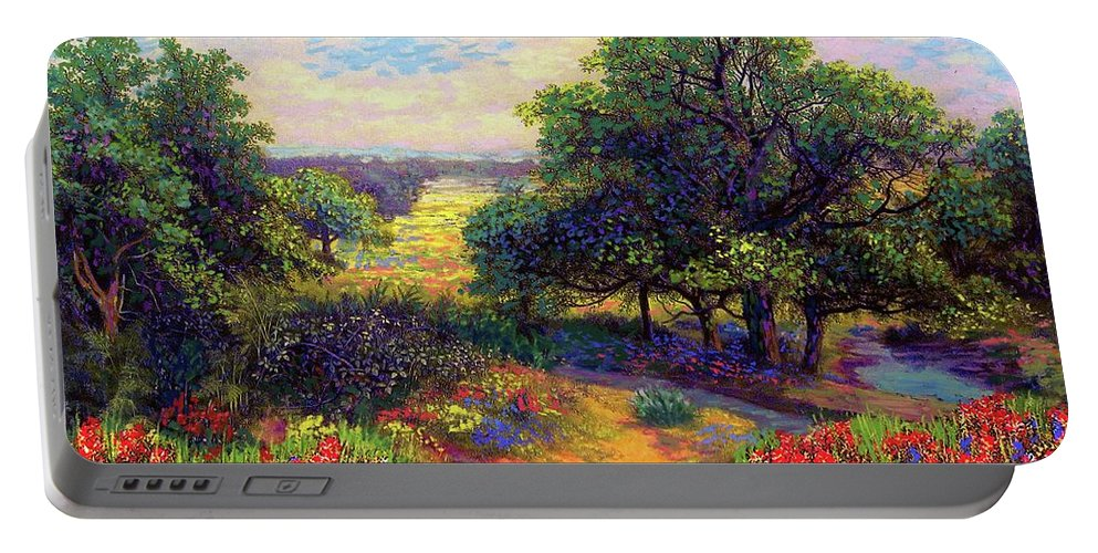 Wildflower Portable Battery Charger featuring the painting Wildflower Meadows Of Color And Joy by Jane Small