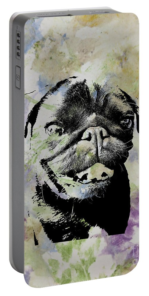 Portable Battery Charger featuring the digital art Wildflower Pug by Purely Pugs Design