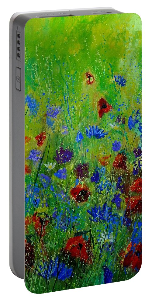 Flowers Portable Battery Charger featuring the painting Wildflowers 560121 by Pol Ledent