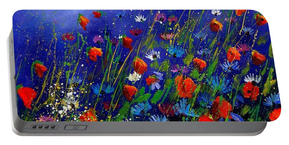 Poppies Portable Battery Charger featuring the painting Wildflowers 78 by Pol Ledent