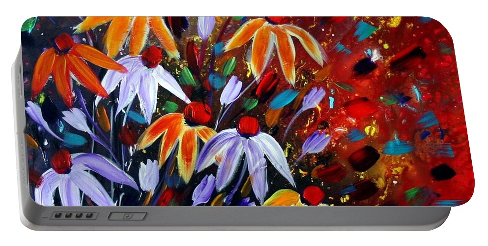 Flowers Portable Battery Charger featuring the painting Wildflowers At Sunset by Luiza Vizoli
