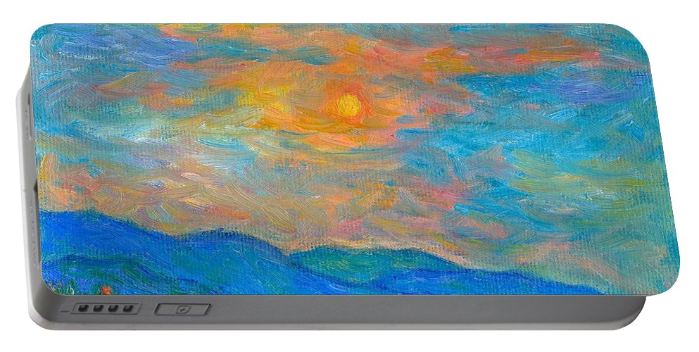Landscape Portable Battery Charger featuring the painting Wildflowers By A Blue Ridge Sunset by Kendall Kessler