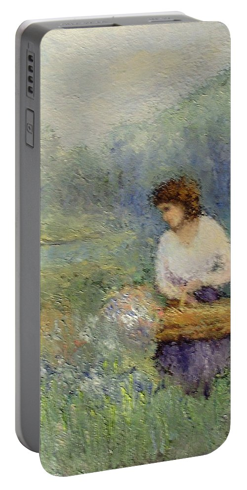 Woman Portable Battery Charger featuring the painting Wildflowers by Gail Kirtz