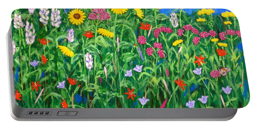 Wildflowers Painting Portable Battery Charger featuring the painting Wildflowers by J Loren Reedy