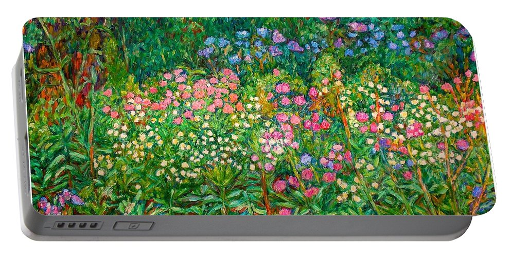 Floral Portable Battery Charger featuring the painting Wildflowers Near Fancy Gap by Kendall Kessler