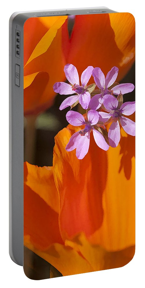 California Portable Battery Charger featuring the digital art Wildflowers by Sharon Foster