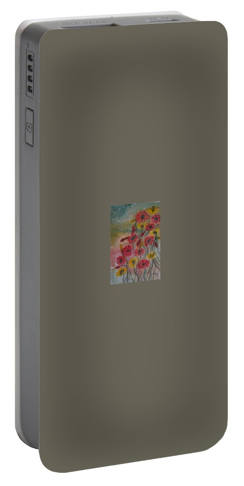 Watercolor Portable Battery Charger featuring the painting WILDFLOWERS still life modern print by Derek Mccrea