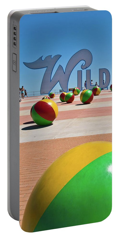 Wildwood's Sign Portable Battery Charger featuring the photograph Wildwood's Sign, Wildwood, Nj Boardwalk . Copyright Aladdin Color Inc. by Retro Views