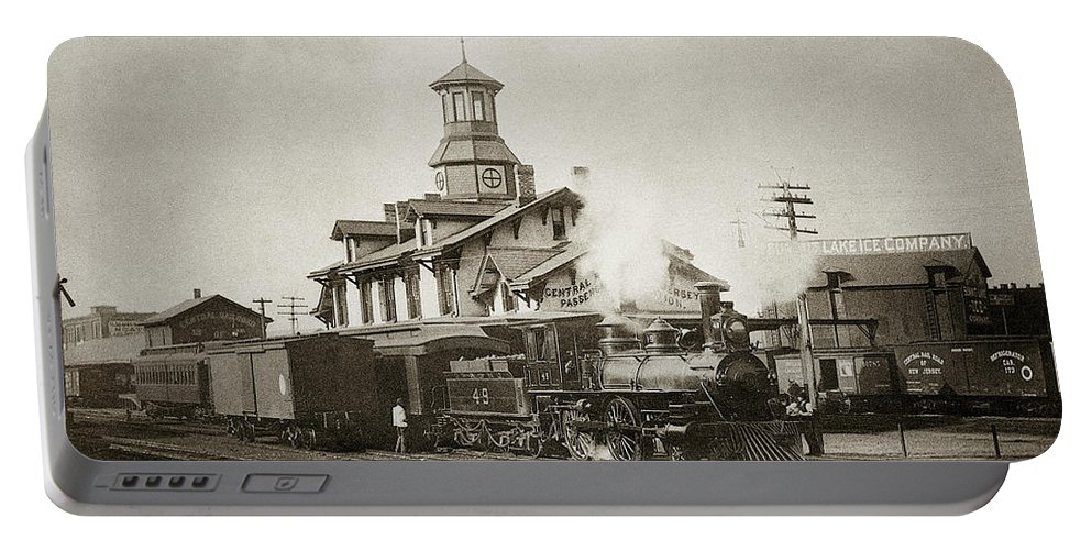 Steam Locomotive Portable Battery Charger featuring the photograph Wilkes Barre Pa. New Jersey Central Train Station Early 1900's by Arthur Miller