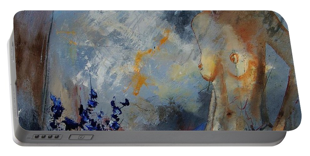 Girl Portable Battery Charger featuring the painting Will He Be Coming by Pol Ledent